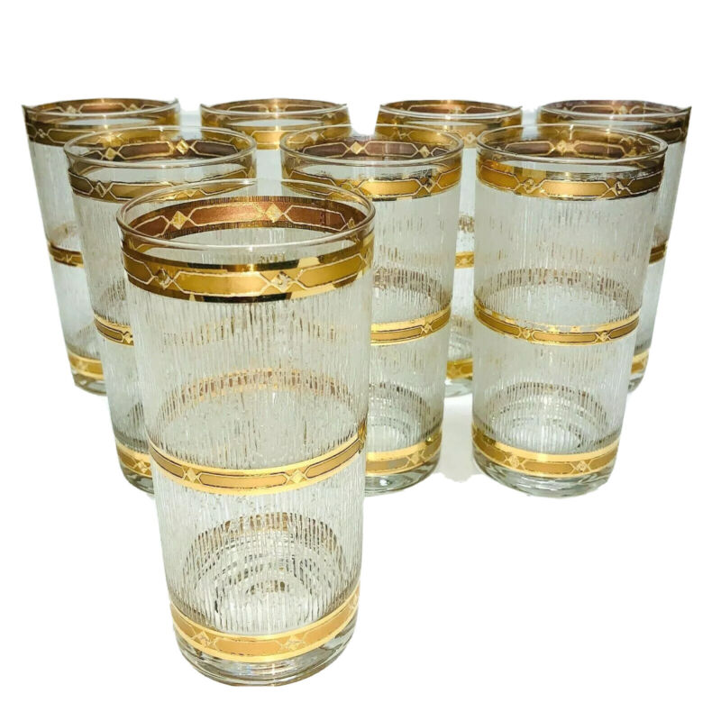===  (8) Vintage Culver Highball Glasses: Gold Bands; Dbl Box Shipping  [410]
