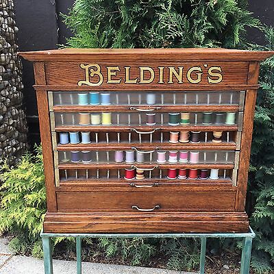 BELDINGS Antique Oak Store Fixture Sewing Thread Spool Cotton Cabinet 6 Drawer
