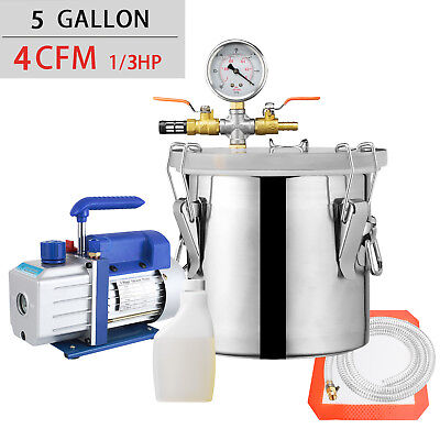 5 Gallon Vacuum Chamber And 4 Cfm Single Stage Pump Degassing Silicone Kit Blue