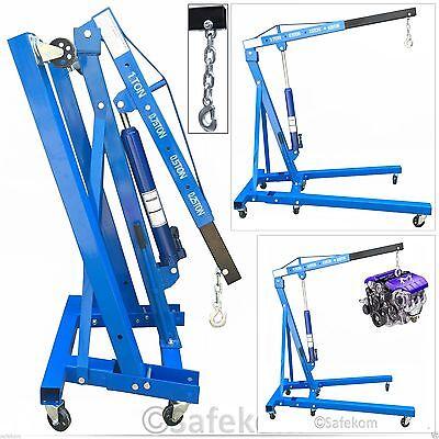 250-1000KG 1 Ton Tonne Hydraulic Folding Engine Crane Stand Hoist lift Jack Blue