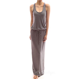Beautiful One Piece Drawstring Waist Knit Long Maxi Summer Sun Dress