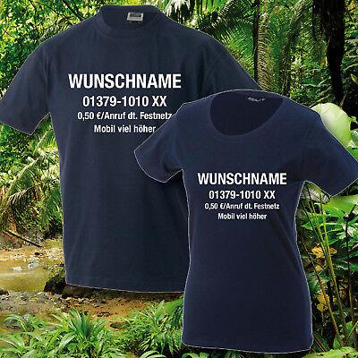 T-Shirt, Herren/Damen, Dschungelcamp, inkl. Wunschname u. Nr., Dschungel