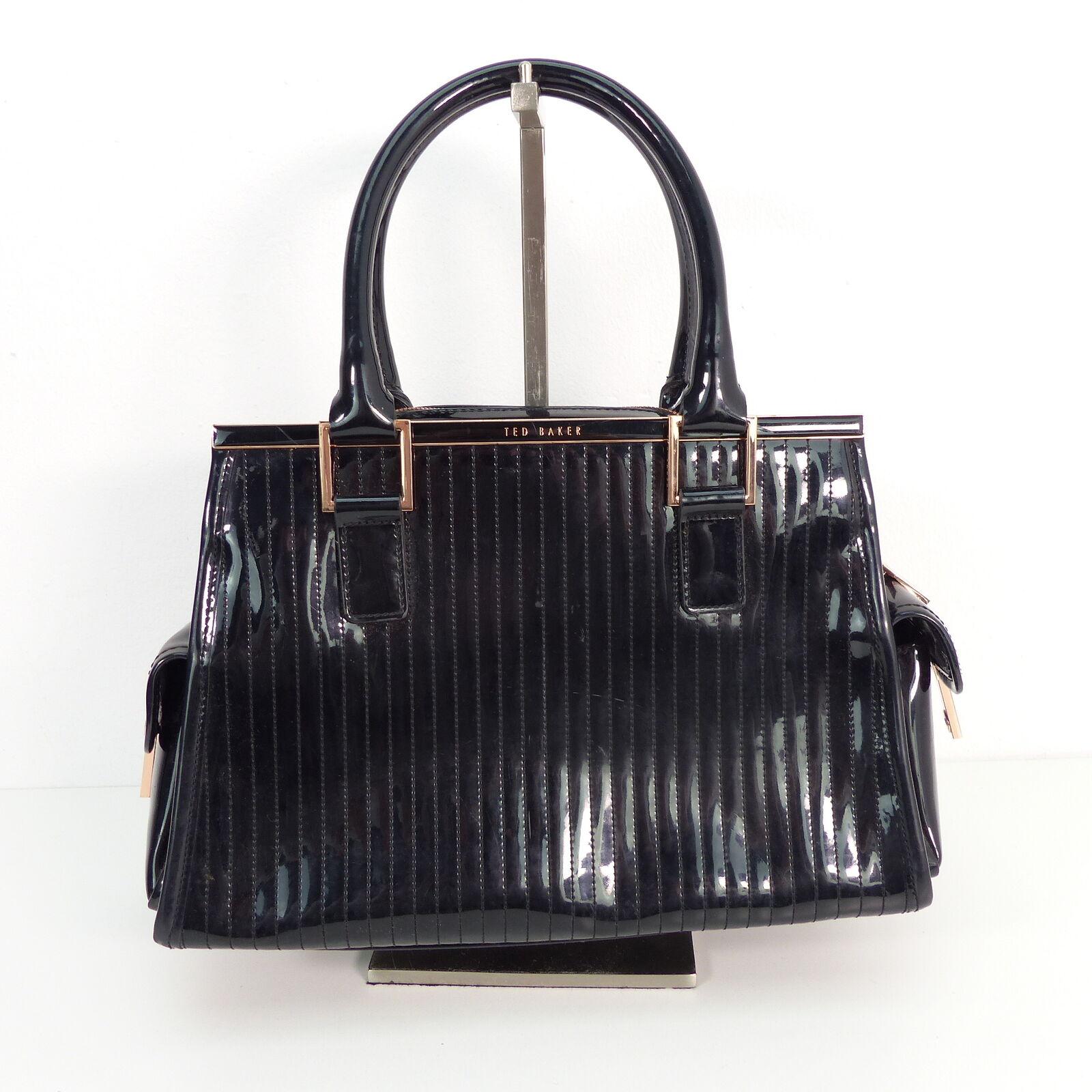 TED BAKER Handtasche Lack Damen Schwarz Tasche Henkeltasche Leather Bag