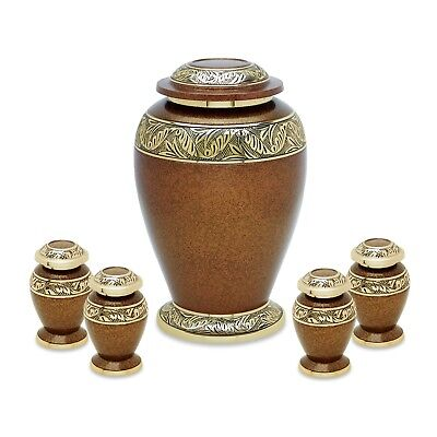 Berkshire Gold Adult Cremation Urn with 4 matching tokens