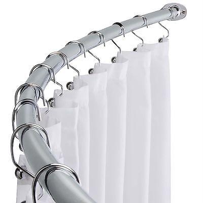Polished Chrome Adjustable Bathroom Curved Shower Curtain Rod, 60