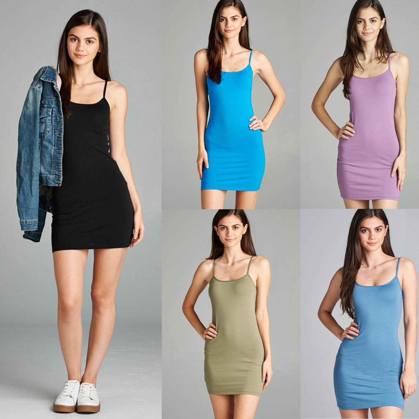 Extra Long Cotton Camisole Dress Tunic Slip Stretch Spaghetti Strap Tank Top