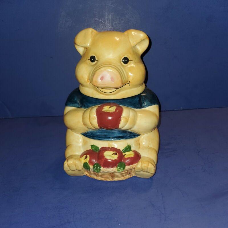"Ceramic Pig With Apple Basket Cookie Jar 10"" tall"