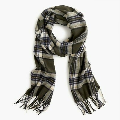 NWT J.CREW Men's $98 Olive Plaid Cashmere Scarf DARK MOSS NATURAL K2393 *green for sale  USA