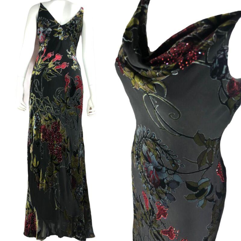 Vintage 90s Floral Grunge Boho Maxi Burnout Dress Sz 6 Velvet Roses