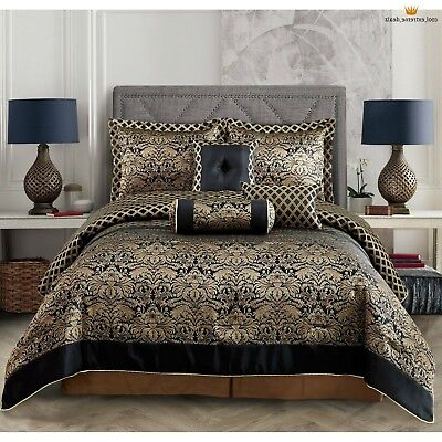 Luxurious Jacquard Gold Black 7 pcs Cal King Queen Comforter Bedskirt Set Gold King Comforter