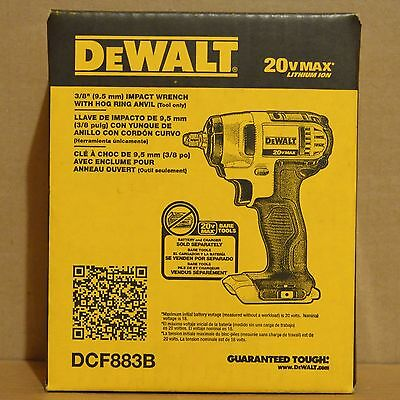 Brand New Dewalt Dcf883b 20V Li Ion Cordless 3 8  Impact Wrench W  Hog Ring