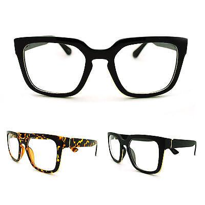 Mens Geeky Nerd Thick Plastic Frame Rectangular Horn Rim Fashion Eye Glasses (Plastic Spectacles)