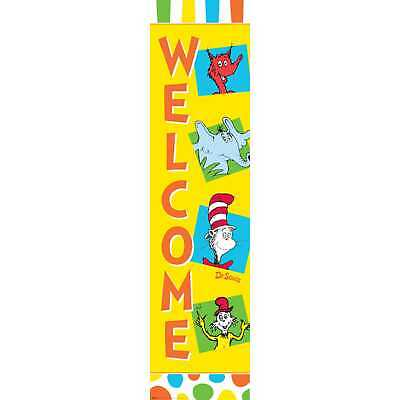 DR. SEUSS WELCOME DOOR BANNER Wall School Classroom Decorations Cat Hat Fox Room (Dr Seuss Photo Booth Props)