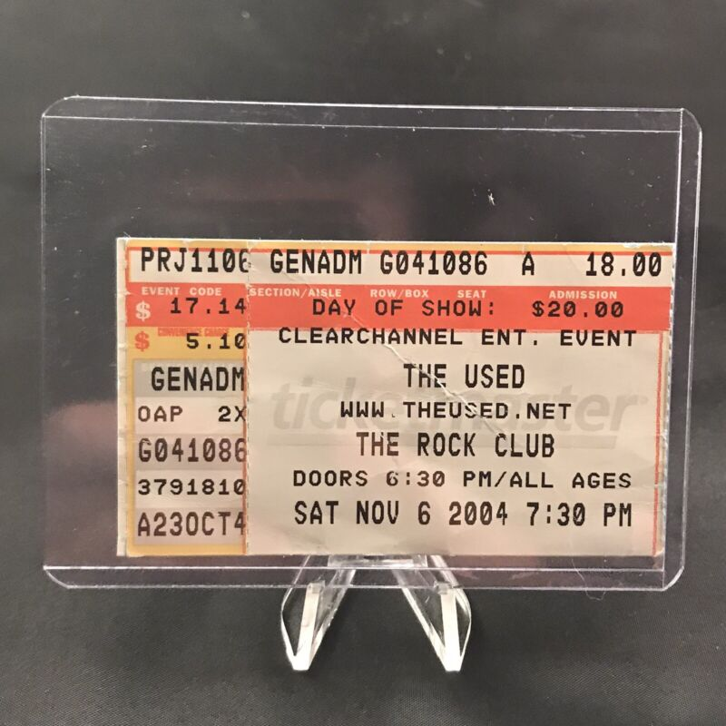 The Used Rock Club Pittsburgh PA Concert Ticket Stub Vtg November 6 2004