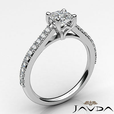 Cushion Shape French V Pave Diamond Engagement Ring GIA Certified F VVS2 1.01Ct 1