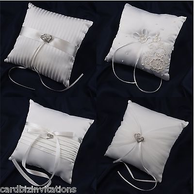 Wedding Ring Pillow Embellished Padded Cover Satin Pearl Diamonte Variations