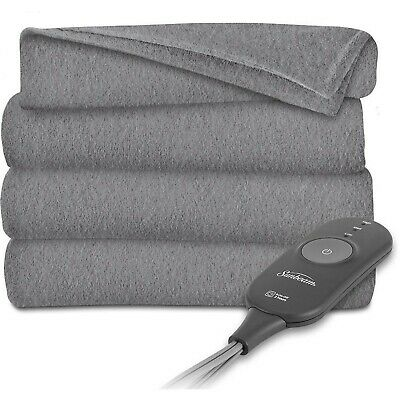 Sunbeam Electric Heated Throw Blanket Fleece, Gray Gray Slate
