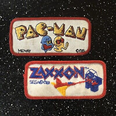 Vintage Pac-Man Zaxxon Video Game Patches 80s Midway.