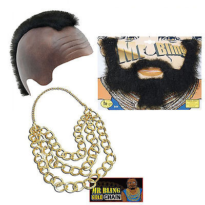 Mr T Fancy Dress A Team Bling Mohawk Beard Gold Chain