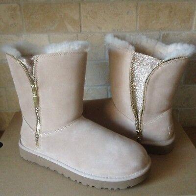 UGG Classic Short Marice Driftwood Suede Fur Zipper Glitter Boots Size 9 Womens (Ugg Glitter Boots)