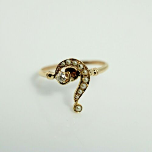 Antique Question Mark Ring Diamond Seed Pearl 14k gold size 5.75