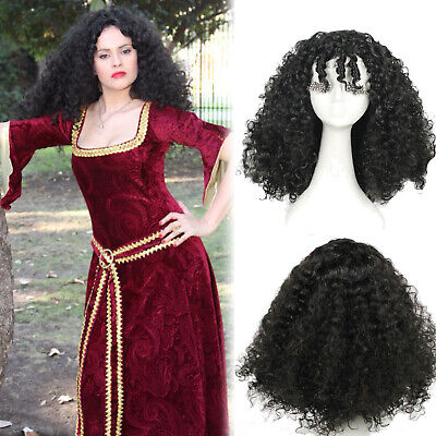 Curly Black Hair Halloween (Tangled Gothel Mother Cosplay Wig Black Long Curly Wave Women Hair)