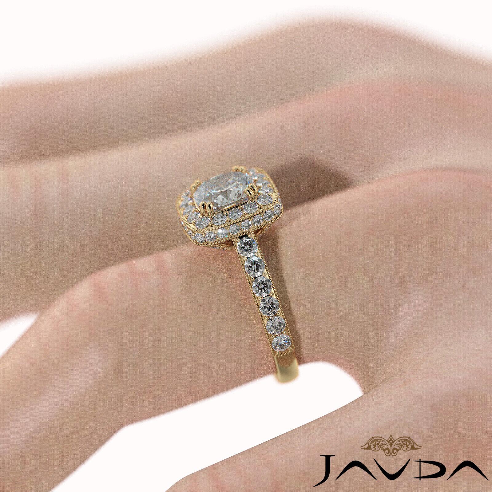 2ctw Milgrain Halo Floral Basket Cushion Diamond Engagement Ring GIA H-VS2 Gold 11
