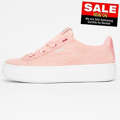 Puma Vikky Stacked Ribbon Classic Casual Women's Ladies Girls Trainers Peach
