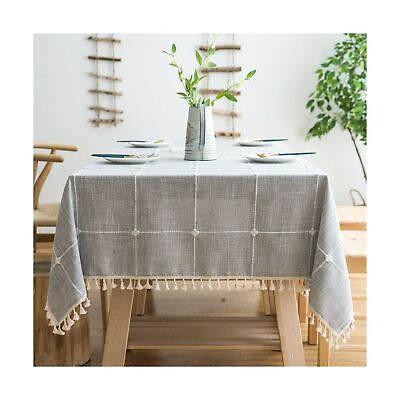 Rustic Lattice Tablecloth Cotton Linen Grey Rectangle Table Kitchen Dining Gift