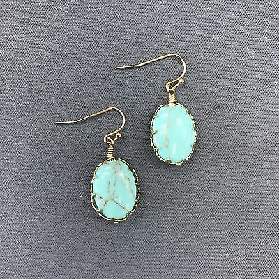 Bohemian Style Gold Finish Elegant Turquoise Stone Oval Shaped Drop (Turquoise Stone Drop)