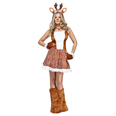 Adult Womens Fawn Fairy Forest Deer w/ Flowers Halloween Christmas Costume Dress](Fawn Costume Halloween)