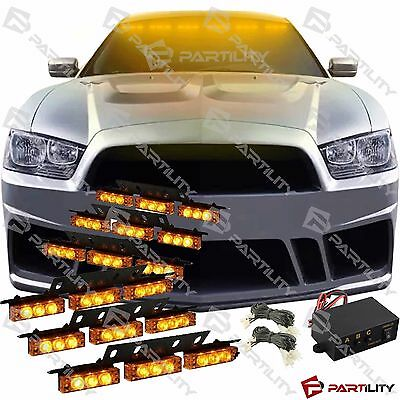 54 Amber Led Emergency Vehicle Strobe Flash Lights Front Grill Car Truck Yellow
