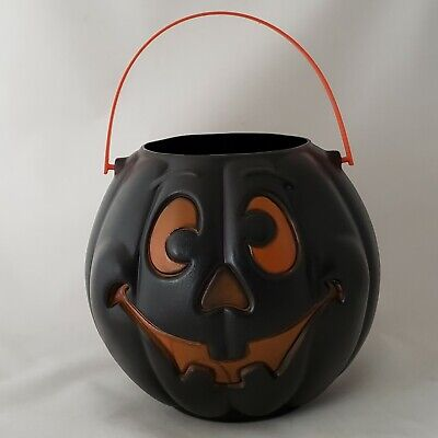 Halloween Grand Venture Blow Mold Pumpkin Trick Or Treat Candy Pail Vintage 1997