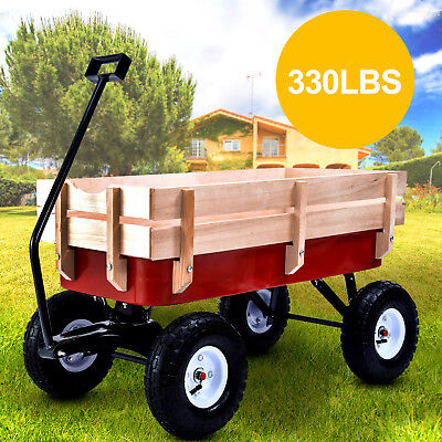 330LB All Terrain Wagon Garden Cart Outdoor Wood Railing Pulling Kid Children