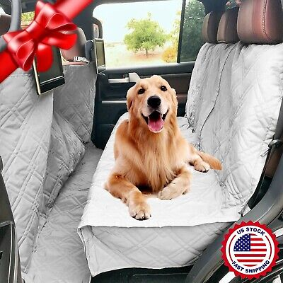 Deluxe Quilted and Padded Car Seat Cover For Dog Pet Extra Length Coverage Grey Padded Pet Cover