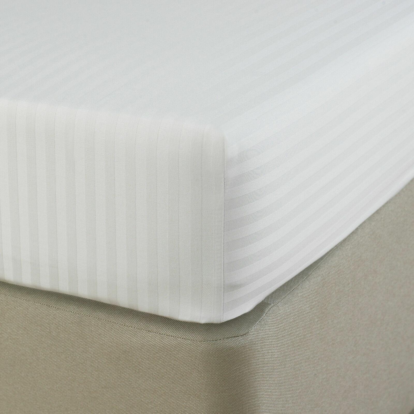 Parure de lit super king size rayure blanche 1000 tc 100/% coton égyptien