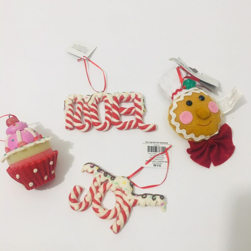 4 Candy Gingerbread Cupcake Sweet Christmas Tree Themed Ornaments Lot