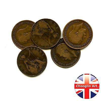 A set of (x5) 1916 British Bronze GEORGE V PENNY Coins