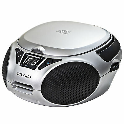 Craig CD6925BT-SL Portable CD Boombox w/ AM/FM Stereo Radio & Bluetooth, Silver