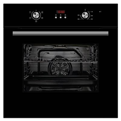 Cookology COF605BK 60cm Black Built-in Single Electric Fan Oven & Digital Clock