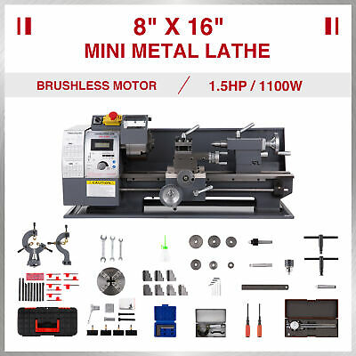 8 16 Mini Metal Lathe Bench 1100w 1.5hp 9 Tools Brushless Motor 2 Chucks