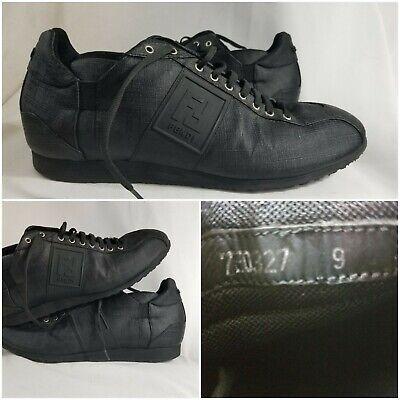 Fendi Roma Zucca Print Leather Cross Strap Canvas Black Mens Low Shoes Size 9 US