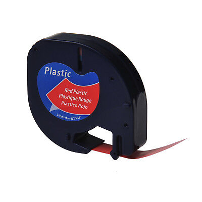 12 Black On Red Plastic Label Tape Fit For Dymo Letra Tag Lt 91333 Plus Lt100h