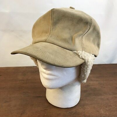 9212aa92195 Vintage Suede Leather Pile Lined Ear Flap Hunter Trapper Hat Mens S M (CH20)
