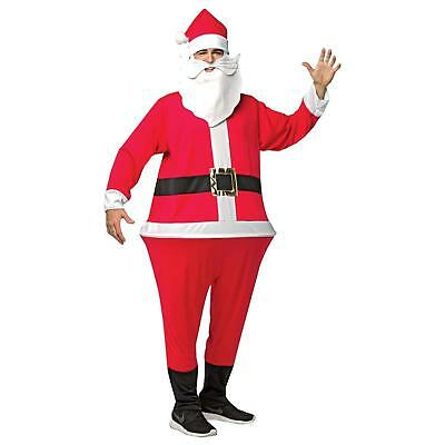 Santa Claus Hoopster Xmas Costume Adult Jumpsuit Hat Attached Beard Pub Crawl (Pub Crawl Santa Costume)