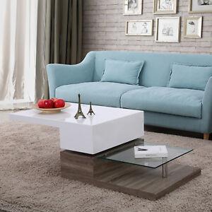 3 Layers High Gloss White Swivel Rotating Coffee Table Living Room Furniture