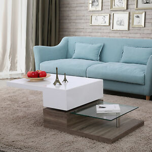 3 Layers High Gloss White Swivel Rotating Coffee Table Living Room Furniture
