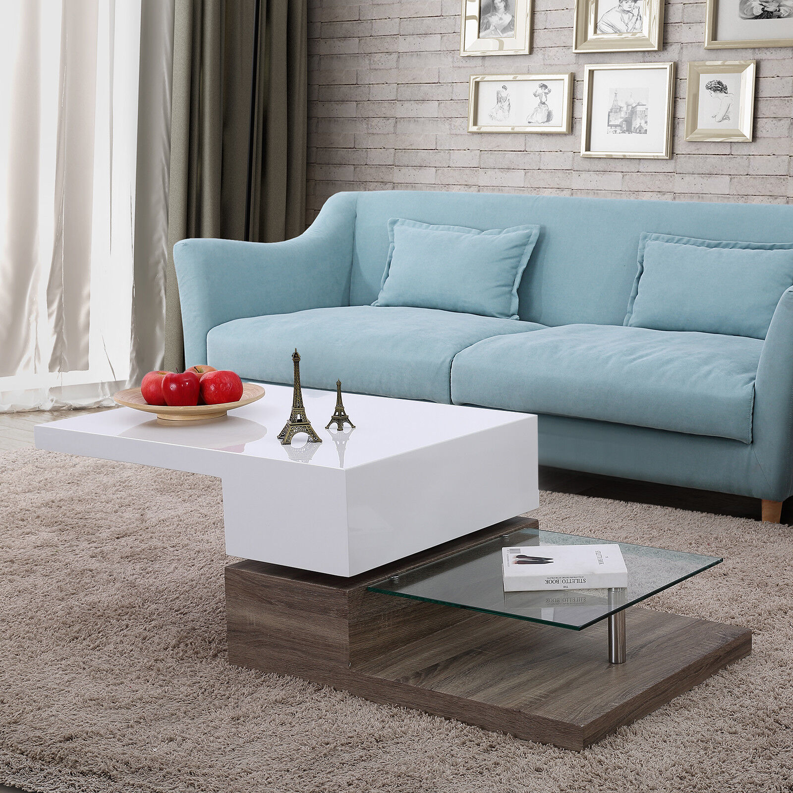 Details About 3 Layers High Gloss White Rotating Modern Coffee Table Living Room Furniture