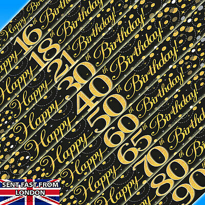 Happy Birthday Banner Sparkling Fizz Black & Gold Holographic 9ft long All - Black Happy Birthday Banner