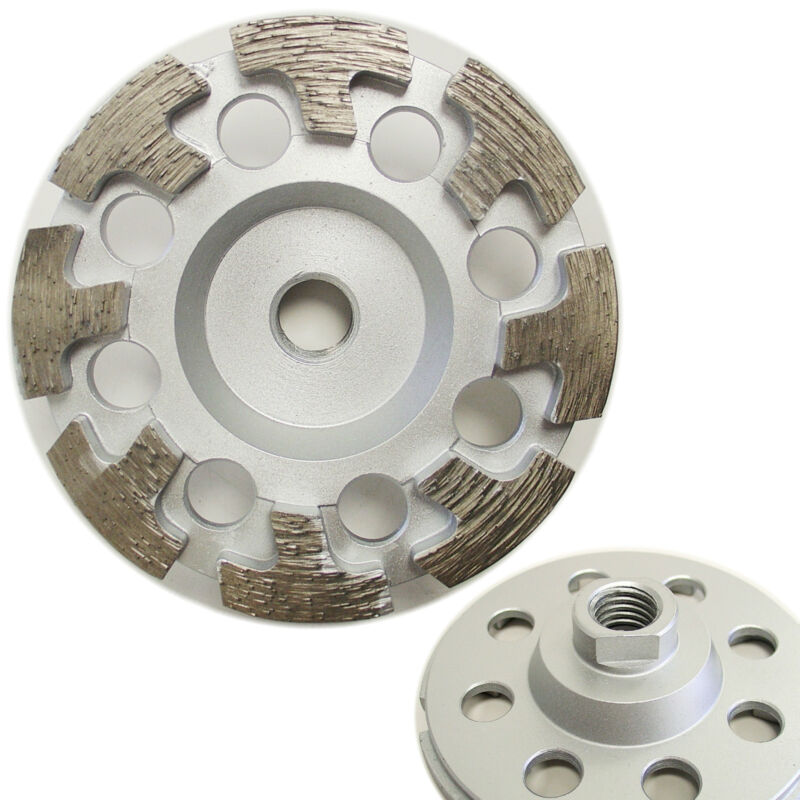 "4"" Premium Diamond Cup Wheel T-segment for Concrete Stone Grinding 5/8""-11 Arbor"